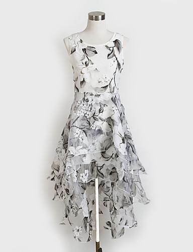 27868ecbf فستان نسائي قياس كبير A line غير متماثل أبيض لون سادة مناسب للخارج