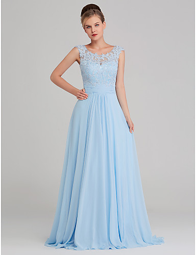 cheap Prom Dresses-A-Line Jewel Neck Sweep / Brush Train Chiffon / Lace Formal Evening Dress with Beading / Lace Insert by TS Couture®