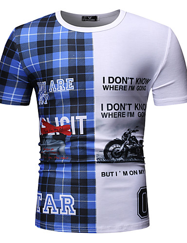 cheap Men's Tees & Tank Tops-Men's T-shirt - Plaid / Letter Round Neck Blue XL