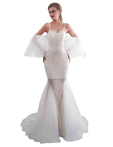 levne Svatební šaty-Mořská panna Srdcový výstřih Dlouhá vlečka Krajka / Tyl Svatební šaty vyrobené na míru s podle LAN TING Express