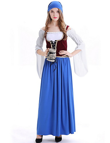 40cc22711fc Women s Beer Festival Oktoberfest Costume Dirndl Set - Color Block Dress  Off Shoulder