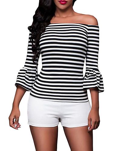 billige Dametopper-Tynn Løse skuldre T-skjorte Dame - Stripet Svart