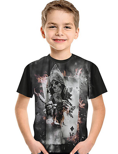 Bambino - Bambino (1-4 Anni) Da Ragazzo Attivo - Essenziale Con Stampe Con Stampe Manica Corta Poliestere - Elastene T-shirt Nero #07320684