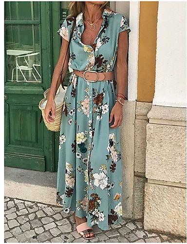 povoljno Haljine većih brojeva-Žene Pamuk Slim Korice Haljina V izrez Maxi