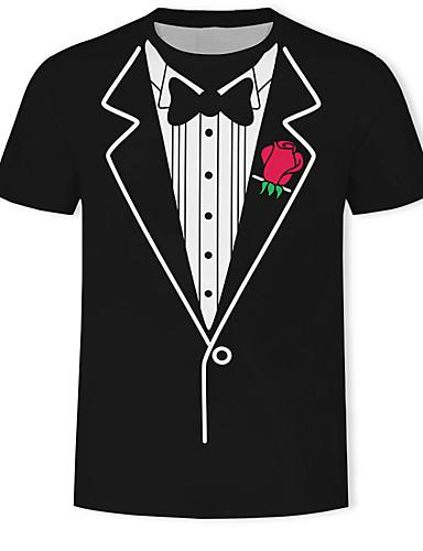 voordelige Herenbovenkleding-Heren Print T-shirt Kleurenblok / 3D / Grafisch Zwart