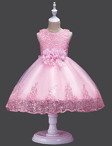 ead2e8478b Księżniczka Midi Sukienka dla dziewczynki z kwiatami - Koronka   Tiul Bez  rękawów Zaokrąglony z Płatek   Haft nakładany   Haft przez LAN TING Express