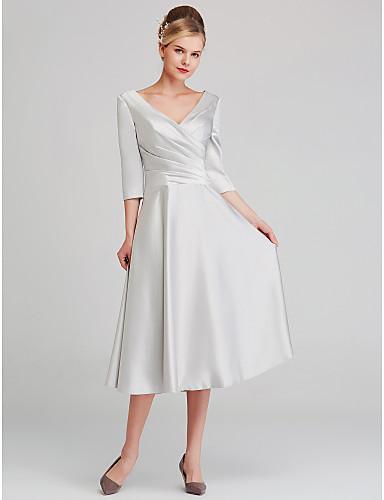 voordelige Bruidsmoederjurken-A-lijn V-hals Over de knie Satijn Bruidsmoederjurken met Patroon / Print door LAN TING BRIDE®