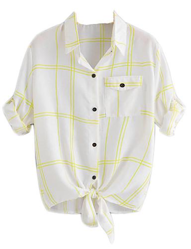 abordables Camisas y Camisetas para Mujer-Mujer Boho / Chic de Calle Lazo / Acordonado Camisa Gráfico Blanco XXL