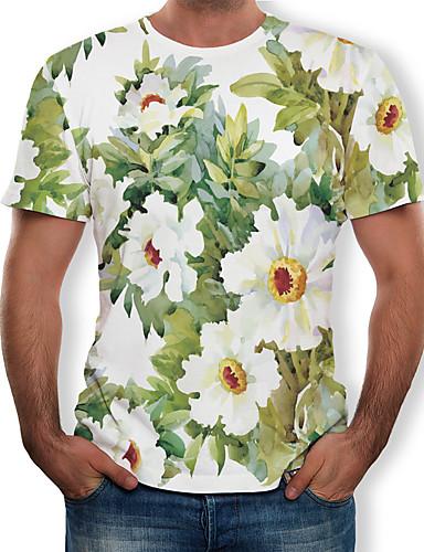 voordelige Heren T-shirts & tanktops-Heren Print Grote maten - T-shirt Katoen Bloemen Ronde hals Wit