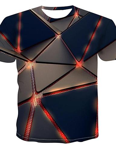 voordelige Uitverkoop-Heren Street chic / Punk & Gothic Print Grote maten - T-shirt Geometrisch / 3D Ronde hals Zwart XXXXL / Korte mouw
