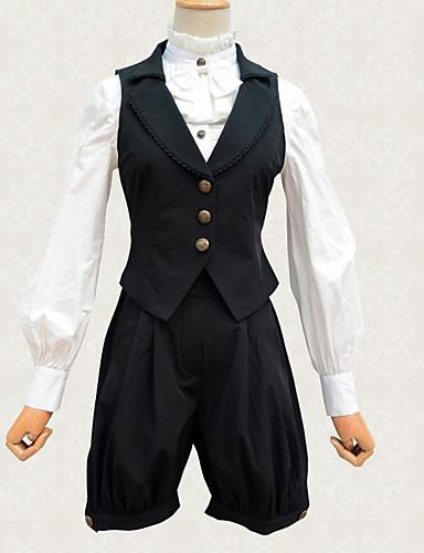 a1fed280399463 Vintage Gotycka Lolita Gorset Kostiumy Cosplay Kostium Kobieta Koronka  Japoński Kostiumy Cosplay Czarny Solidne kolory Koronka Bez rękawów Bez  rękawów