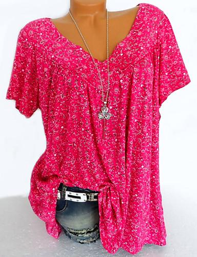 billige Topper til damer-V-hals Skjorte Dame - Blomstret / Geometrisk / Grafisk, Lapper / Trykt mønster Gul XXXL