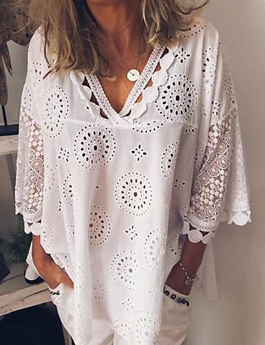billige Topper til damer-Løstsittende V-hals Store størrelser Skjorte Dame - Ensfarget, Blonde Hvit