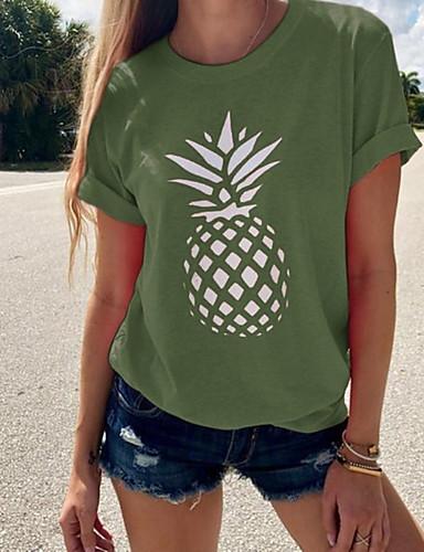 billige Dametopper-T-skjorte Dame - Frukt, Trykt mønster Grunnleggende / Gatemote Mørkegrå