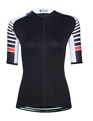cheap Cycling Clothing-ILPALADINO Women's Short Sleeve Cycling Jersey - Black Bike Top UV Resistant Moisture Wicking Quick Dry Sports Elastane Terylene Clothing Apparel