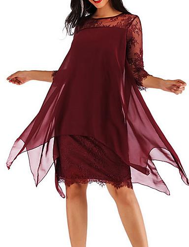 273028c6b فستان نسائي شيفون دانتيل طول الركبة لون سادة / قطن / قياس كبير