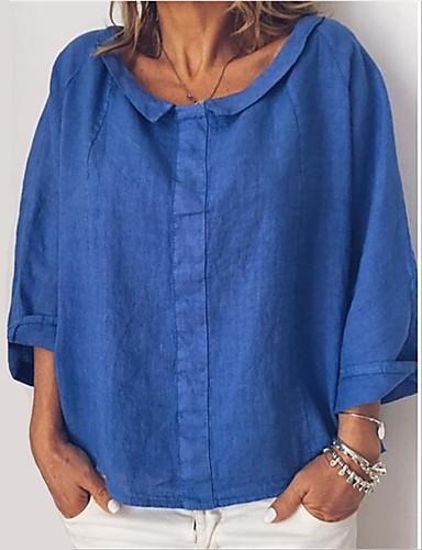 billige Dametopper-Bomull T-skjorte Dame - Ensfarget, Flettet / Lapper Hvit