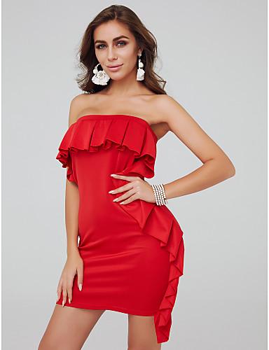 billige Feriekjoler-Tube / kolonne Stroppeløs Kort / mini Jersey Cocktailfest Kjole med Sidedrapering av TS Couture®