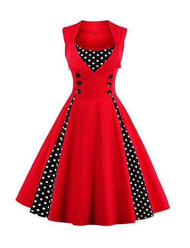 billige Kjoler-Dame Vintage Chinoiserie Swing Kjole - Fargeblokk, Lapper U-hals Knelang