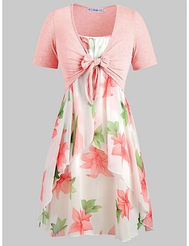 billige Dametopper-Dame Vintage Skjorte Kjoler Blomstret
