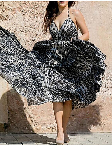 566f5d7d0d61 Per donna Boho Elegante Swing Vestito - Schiena scoperta Lacci
