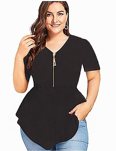 billige Dametopper-V-hals T-skjorte Dame - Ensfarget, Lapper Blå