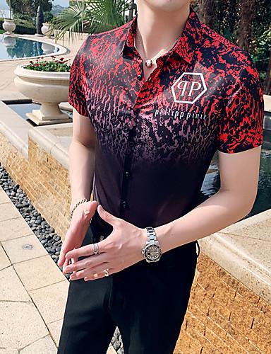 voordelige Herenoverhemden-Heren Overhemd Geometrisch / Letter Klassieke boord Slank Wit / Korte mouw
