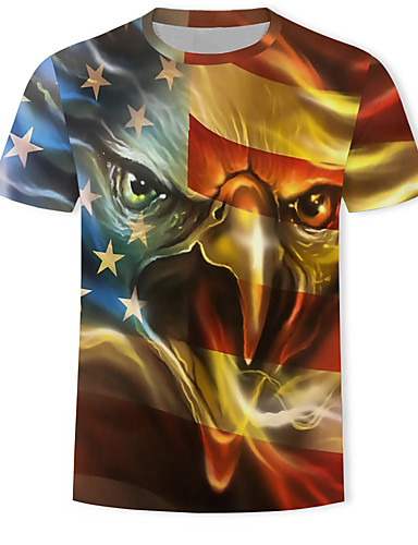 voordelige Herenbovenkleding-Heren Print T-shirt 3D / Grafisch / dier Goud