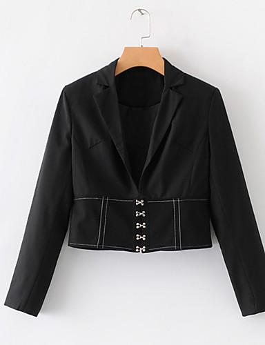 abordables Manteaux & Vestes Femme-Femme Blazer Revers en Pointe Polyester Noir S / M / L