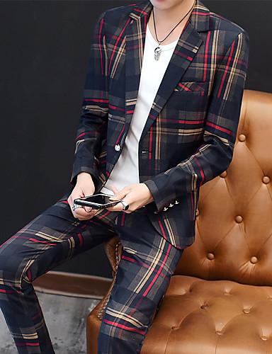 billige Brudgom og brudesvenner-Rød / Grønn Stripet Slank Fasong Polyester Dress - Med hakk Enkelt Brystet Enn-knapp