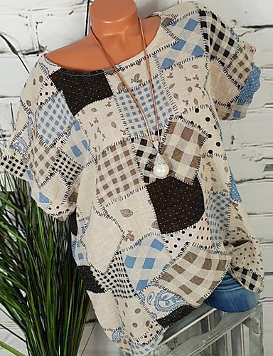 billige Dametopper-Store størrelser Skjorte Dame - Geometrisk, Trykt mønster Grunnleggende Grønn