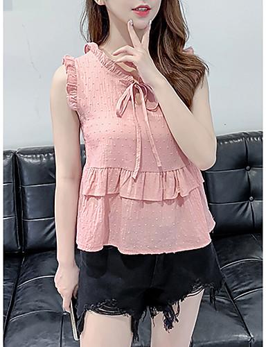 100% Vero Camicia Per Donna Con Balze - Collage, Tinta Unita Bianco M #07336806