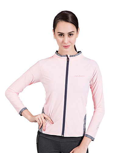 cheap Outdoor Clothing-SUMMITGLORY® Women's Solid Color Hiking Sweatshirt Outdoor Autumn / Fall Spring Breathable Ultra Light (UL) Soft High Elasticity Top Spandex Full Length Visible Zipper Traveling Sky Blue / Pink