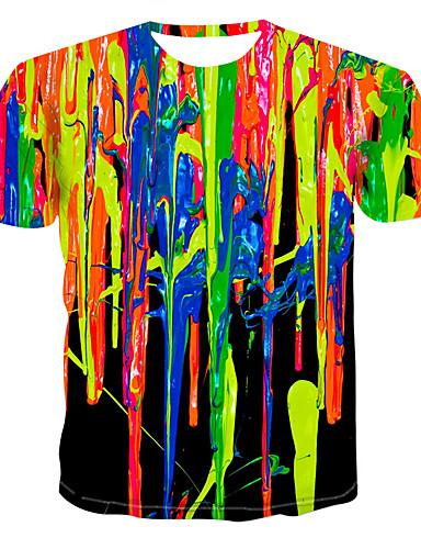cbbe89679a9a Ανδρικά T-shirt Συνδυασμός Χρωμάτων   3D   Γραφική Στρογγυλή Λαιμόκοψη  Στάμπα Ουράνιο Τόξο XXXXL