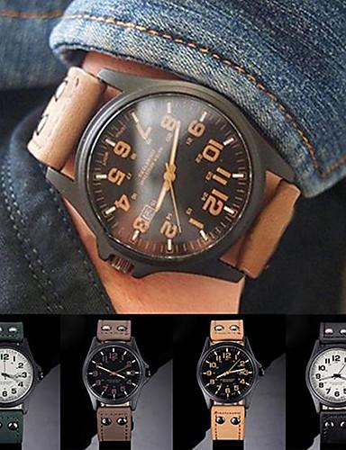 4e453afc1 رجالي ساعة رياضية كوارتز جلد أسود / بني / أخضر ساعة كاجوال مماثل عتيق موضة  - أخضر كاكي أسود / أبيض سنة واحدة عمر البطارية / ستانلس ستيل