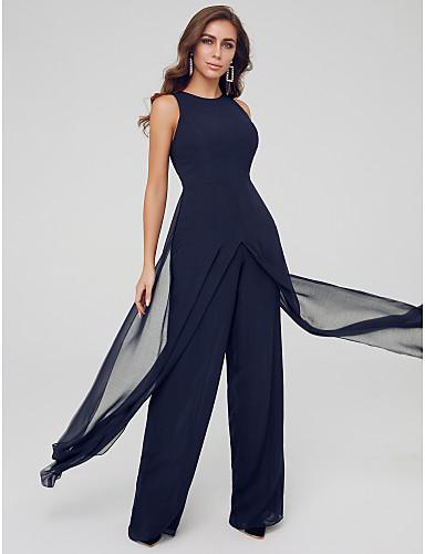 abordables robe invitée mariage-Combinaisons Bijoux Longueur Sol Mousseline de soie Soirée Formel Robe avec Avant Fendu par TS Couture®