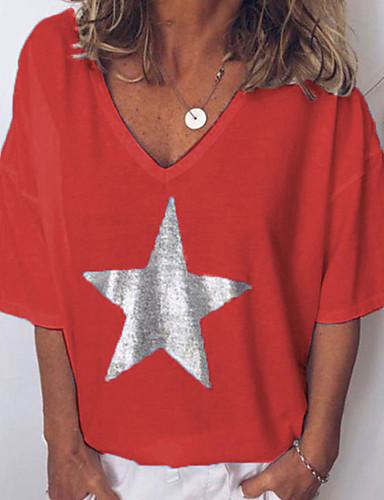 abordables Hauts pour Femme-Tee-shirt Femme, Couleur Pleine / Graphique Imprimé Basique Col en V Rose Claire
