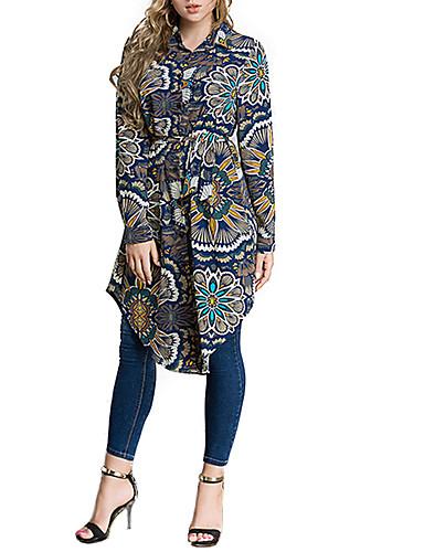 abordables Camisas y Camisetas para Mujer-Mujer Camisa Floral Azul Piscina XXXXL