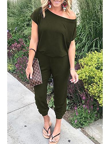 abordables Hauts pour Femmes-Femme Actif / Bohème Epaules Dénudées / Une Epaule Noir Vin Vert Véronèse Sarouel Combinaison-pantalon, Couleur Pleine S M L
