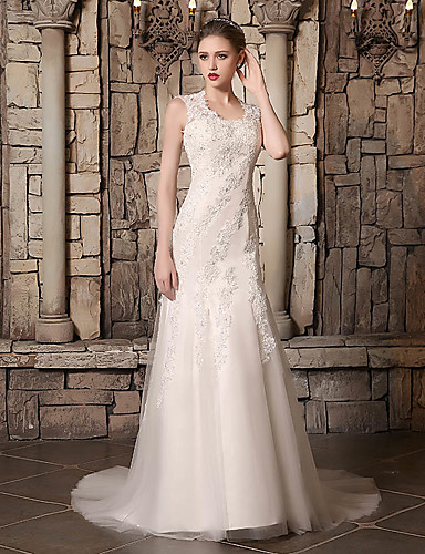 cheap Wedding Dresses-Mermaid / Trumpet Jewel Neck Court Train Lace / Tulle Made-To-Measure Wedding Dresses with Beading / Appliques / Buttons by JUDY&JULIA