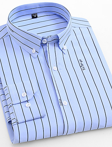 voordelige Herenoverhemden-Heren Standaard Ruche Overhemd Gestreept Slank Wit