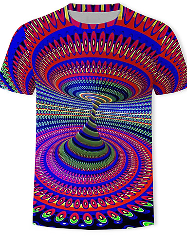 voordelige Herenbovenkleding-Heren Print T-shirt 3D / Regenboog / Grafisch Rood