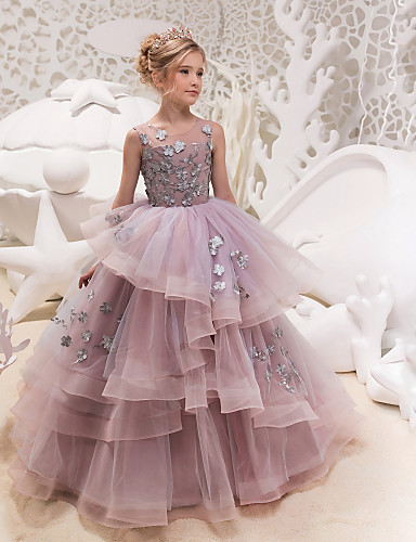 5bc3aaefe Princess Maxi Flower Girl Dress - Lace   Organza   Tulle Sleeveless Jewel  Neck with Appliques   Lace by LAN TING Express