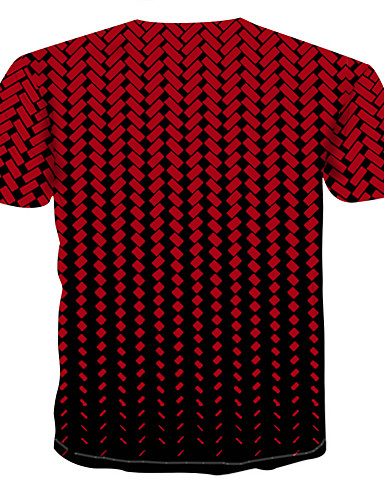 cheap Men's Tees & Tank Tops-Men's T-shirt - 3D Print Round Neck Red XXXXL