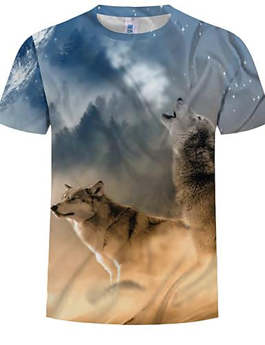 cheap Men's Tees & Tank Tops-Men's Plus Size Cotton T-shirt - 3D / Animal Print Round Neck Rainbow XXXXL
