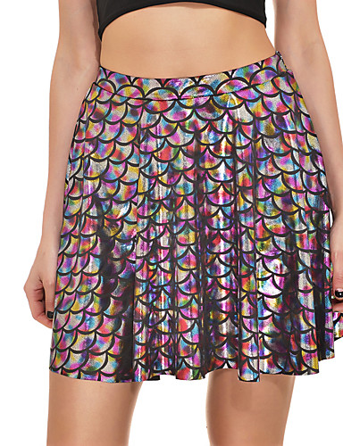 cheap Women's Skirts-Women's Basic / Punk & Gothic Trumpet / Mermaid Skirts - Geometric / Rainbow Sequins / Print Fuchsia Rainbow Light Blue XXXL XXL XXXXL / Slim