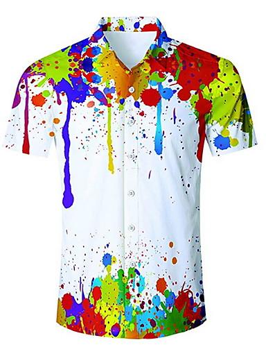 voordelige Herenoverhemden-Heren Overhemd Regenboog Wit US36 / Korte mouw