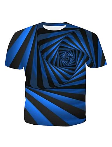 cheap Men's Tees & Tank Tops-Men's Cotton T-shirt - Striped / Geometric / 3D Print Round Neck Blue XL