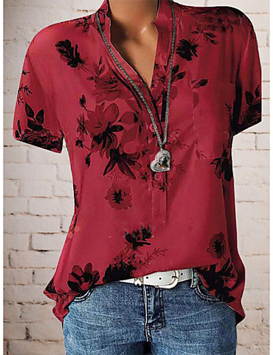 זול חולצה-פרחוני צווארון V חולצה - בגדי ריקוד נשים פרחוני / דפוס אודם XXXL / אביב / קיץ / סתיו