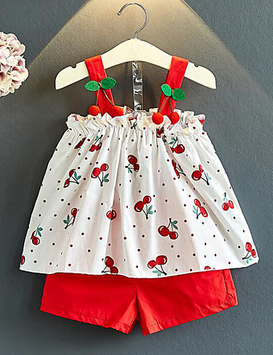 Djeca Djevojčice Aktivan Ulični šik Print Kolaž Print Bez rukávů Regularna Pamuk Komplet odjeće Red